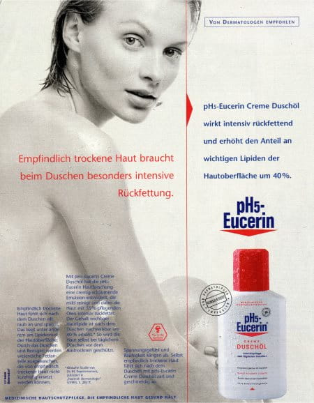 Gedrukte advertentie voor Eucerin pH5 Doucheolie in 1995